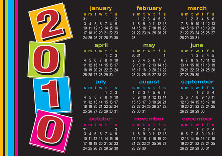 Vector of calendar 2010 with colorful design on black background