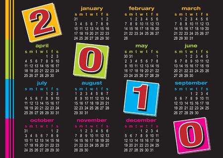 vibrance: Vector of calendar 2010 with colorful design on black background