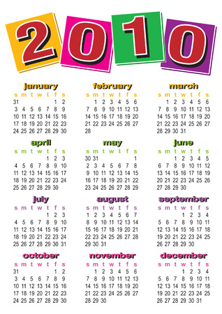 vibrance: Vector of calendar 2010 with colorful design on white background