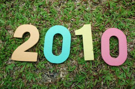 Colorful textured new year 2010 on green grass background