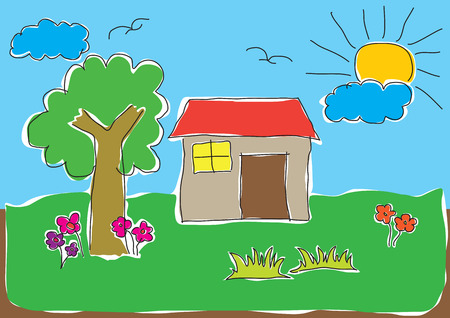 illustrations of childs drawing of a house in a nice natural environment Illustration