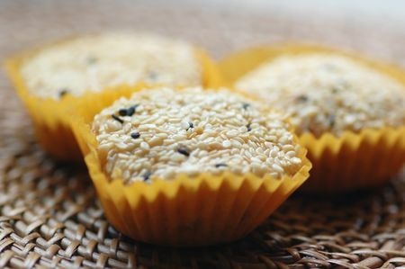 Sesame coated glutinous rice cookies with shallow depth of field
