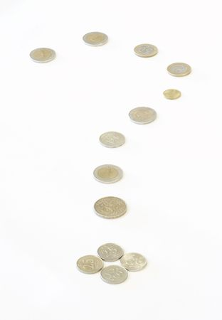 coinage: coins question mark Stock Photo