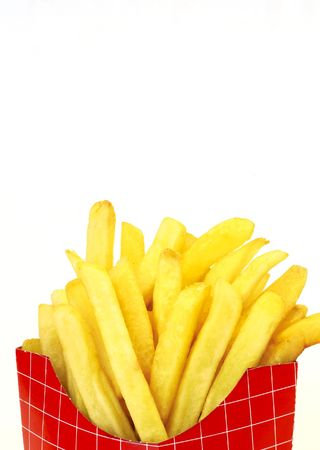 paperbag: french fries on white