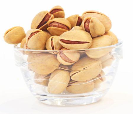 nutty: pistachios on white