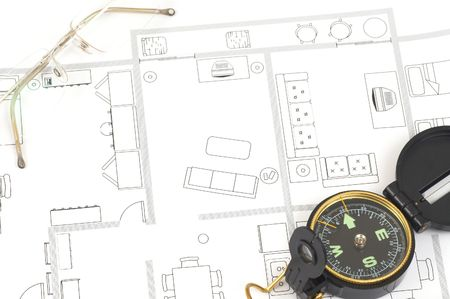 house plan and compass