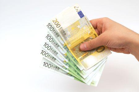 show bill: euros en la mano  Foto de archivo