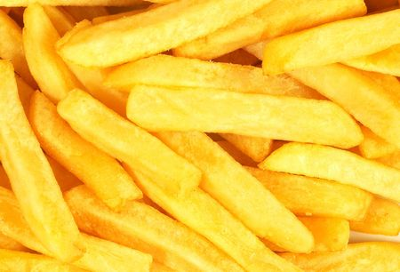 paperbag: french fries background Stock Photo
