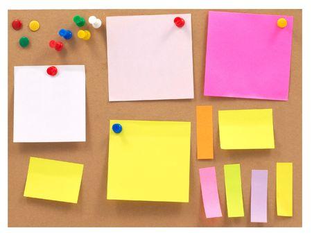 cork board: colorful notes on cork board