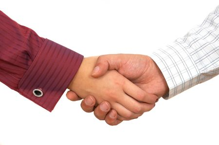 male parts: business handshake close up on white