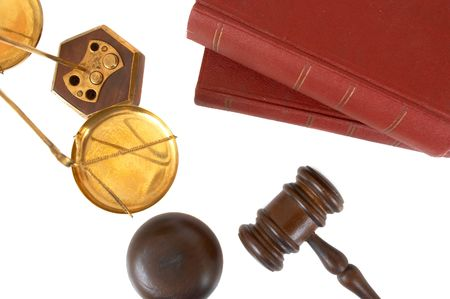 gavel and books on white background Stock Photo - 684924