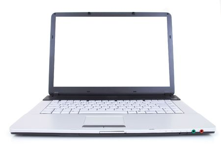 high tech laptop with blank screen, shot with wide angle lens, space for messages Stock Photo - 682373
