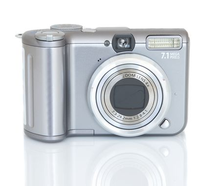 megapixel: compact digital camera on white background, all names erased Stock Photo