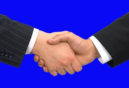 business handshake on blue background Stock Photo - 682324