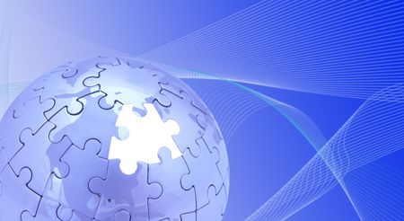 blue puzzle world on white background, space for messages Stock Photo - 700542