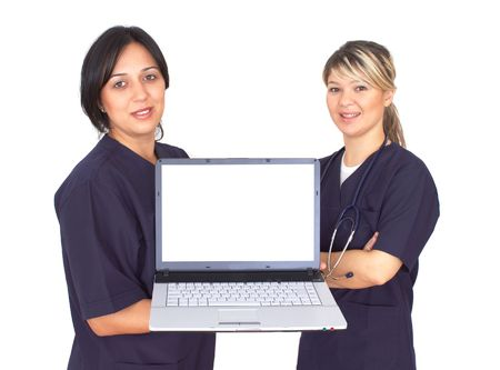 telework: doctors with a lap-top on white, space for your messages Stock Photo