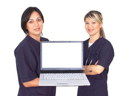 highend: medici con un giro-top su bianco, spazio per i vostri messaggi