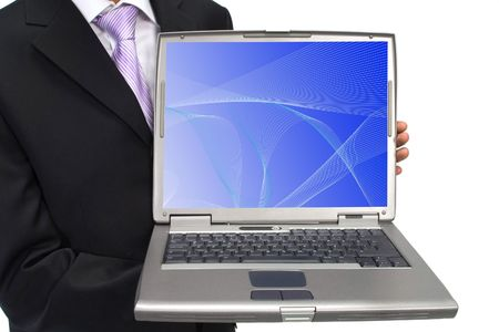 highend: businessman holding a lap-top with waves on screen, both are from photographers portfolio Stock Photo