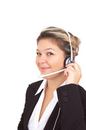 caller: happy call center operator Stock Photo