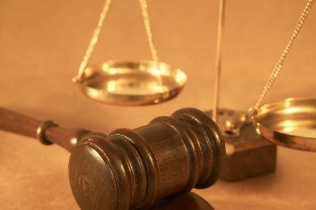 gavel and sound block close up, shallow dof Stock Photo - 712837