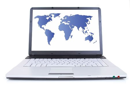 high tech laptop with world map on screen, shot with wide angle lens, space for messages, both images are from photographers portfolio Stock Photo - 712881