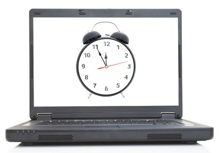 lap-top with clock image on screen, both images are from photographers portfolio Stock Photo - 726944