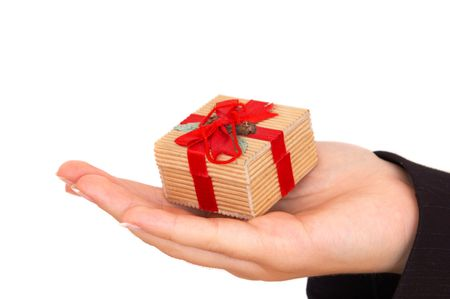 businesswoman giving a gift, on white