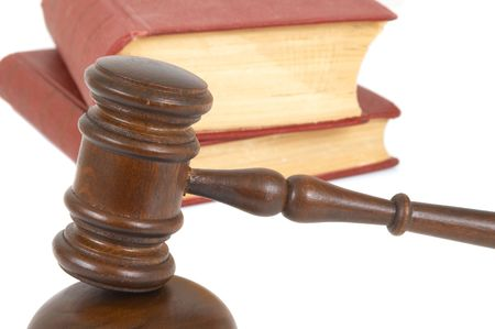 judicial proceeding: gavel with book on white background Stock Photo