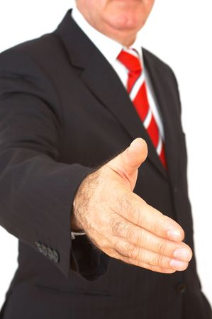 happy businessman ready to handshake on white background Stock Photo - 726934