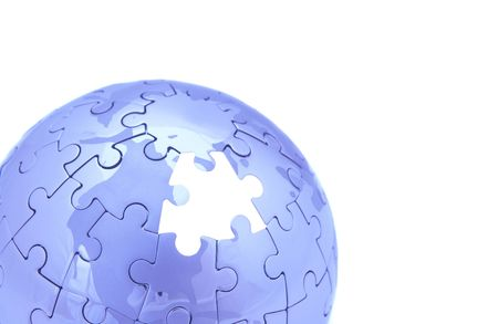 blue puzzle world on white background, space for messages Stock Photo