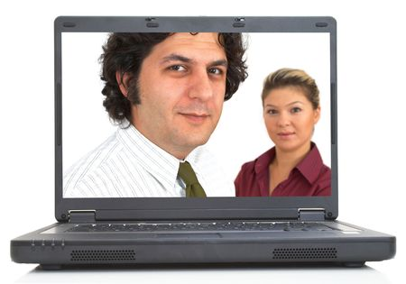 business team portrait on lap-top screen, both images are from photographers portfolio Stock Photo - 772941