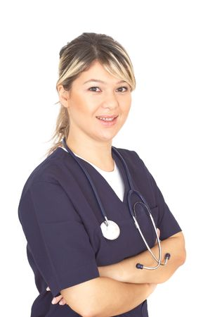 doctor with stethoscope on white background photo
