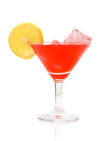 red cocktail on white, with ice Stock Photo