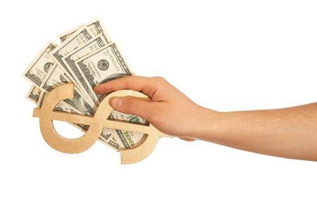 dolar: parte la celebraci�n de d�lares e signo de d�lar en blanco