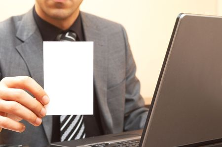 businessman showing his card, space for messages Stock Photo - 841962