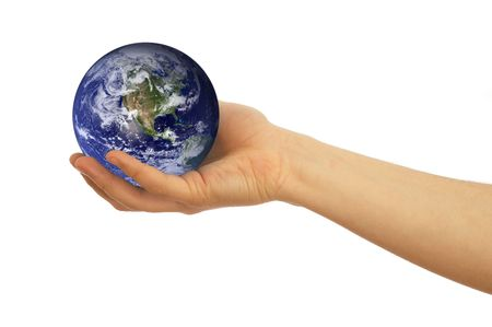 online internet presence: hand holding globe on white background, map used from nasa.gov and their copyright statement: http:www.visibleearth.nasa.govuseterms.php Stock Photo