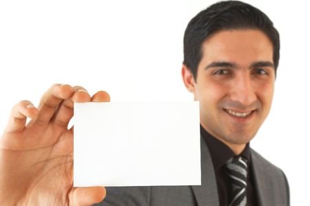 happy man showing his business card, shallow dof Stock Photo - 892897