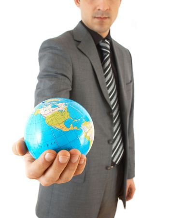 online internet presence: young businessman holding globe, on white background