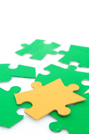 puzzle pieces on white, shallow dof, space for messages Stock Photo - 893008