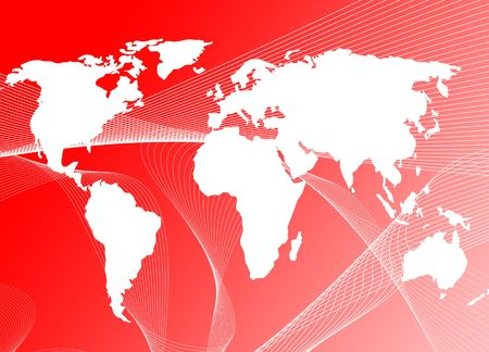 worldmap: world map on red wave background, both images are from photographers portfolio