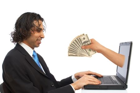 happy businessman receiving us dollars from laptop
