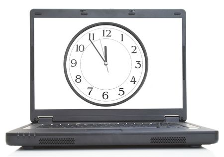 high tech lap-top with clock image on screen, both images are from photographers portfolio Stock Photo - 901300