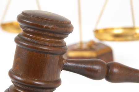 gavel and sound block on white surface with shallow dof Stock Photo - 901305