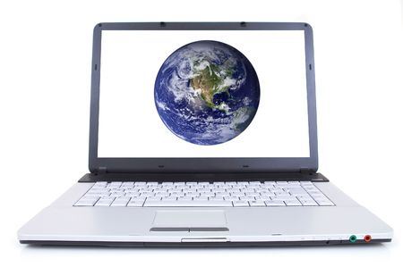 high tech laptop with globe on screen, shot with wide angle lens