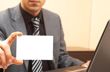 businessman at the office with a blank card Stock Photo - 901339