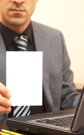 young businessman holding blank card Stock Photo - 901341