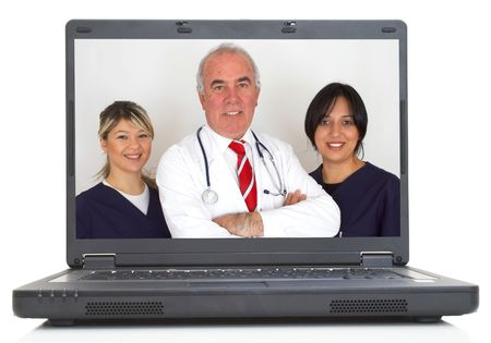 team of doctors on lap-top screen, both images are from photographers portfolio