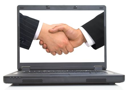 teleworking: business handshake on lap-top screen, both images are from photographers portfolio