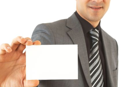 businessman with his card on white, shallow dof, space for messages Stock Photo - 905573