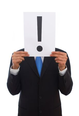 exclamation sign: businessman on white background with exclamation sign